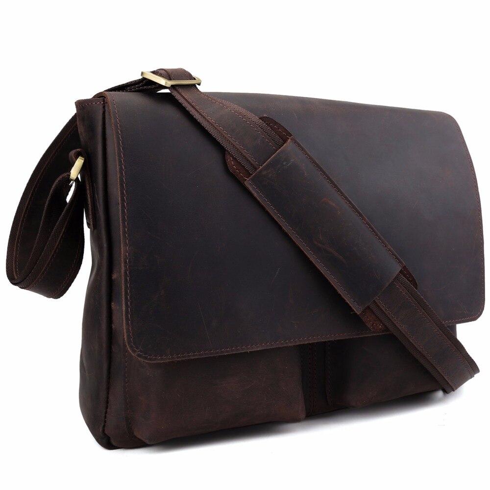 2017 Handmade Genuine Leather Messenger Bag Brand Shoulder Satchel For Men Simple Retro Style Top Handbag 1180