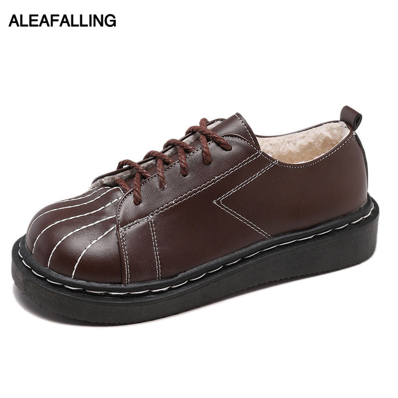 Aleafalling Women Snow Boots Autumn Winter Lace Up Sewing Mature Soft Leather Lady -3725