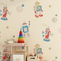 Modern Cartoon Robot Children Wallpapers Home Decor Kids Boy Girls Bedroom Living Room Wall Paper Roll for Walls Contact Paper
