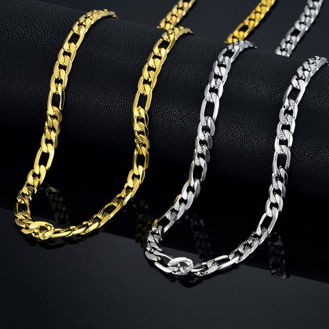 Gold Color Stainless Steel Necklace Femme Boys Mens Chain Necklace Fashion Jewelry, 48/63 CM Figaro Curb Chain
