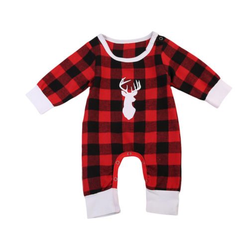 Infant Newborn Baby Girl Boy Xmas Clothes Red Plaid Check Long Sleeve   Romper   Jumpsuit Cotton Christmas Outfits