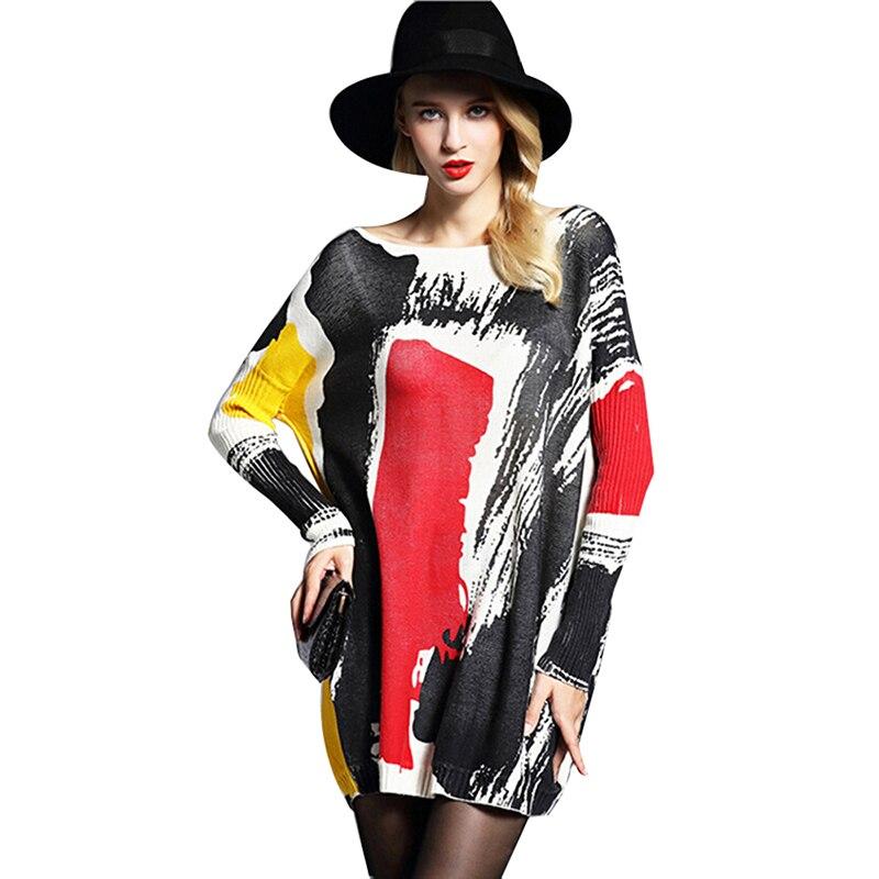 2019 podzim zima móda dlouhé rukávy svetr dámské ležérní vlněný svetr tisk pletená košile nadměrná svetr 6122