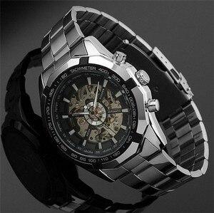 Image 3 - الفائز ساعات أوتوماتيكية وصفت الرجال الكلاسيكية الفولاذ المقاوم للصدأ الذاتي الرياح الهيكل العظمي الميكانيكية ساعة الموضة عبر ساعة اليد