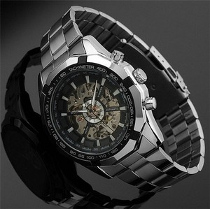 Image 3 - WINNER automatic Watches Branded Mens Classic Stainless Steel Self Wind Skeleton Mechanical Watch Fashion Cross Wristwatch