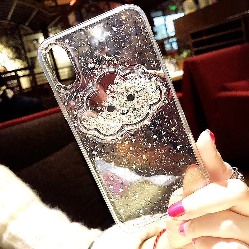 Liquid Heart Glitter Powder Smile Face Clouds Case For iPhone 6 S 6s 7 8 Plus X XR XS Max Ice Cream TPU Dynamic Beads Back Cover (5)
