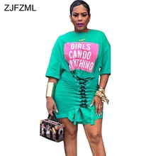 fa0091d05d600 ZJFZML Letter Printed Casual T Shirt Dress Women Short Sleeve O Neck Club  Party Bandage Dress