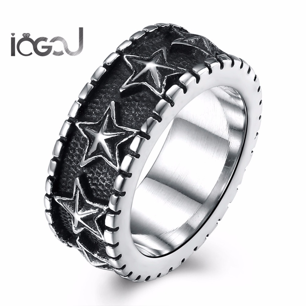 IOGOU Trendy Stainless Steel Men Star Hip Hop Rings Antique Silver Plated Male Fashion Hip Hop Punk Rings Party Jewelry Gifts