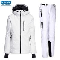 2018 новые женские лыжные костюмы для катания на лыжах белые толстые теплые непромокаемые ветрозащитные зимние женские лыжные куртки и брюки
