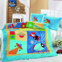 Free Shipping Rocket Space Kids 2pcs Bedding Sets Applique Embroidery Astronaut From Moon UFO 1 Comforter