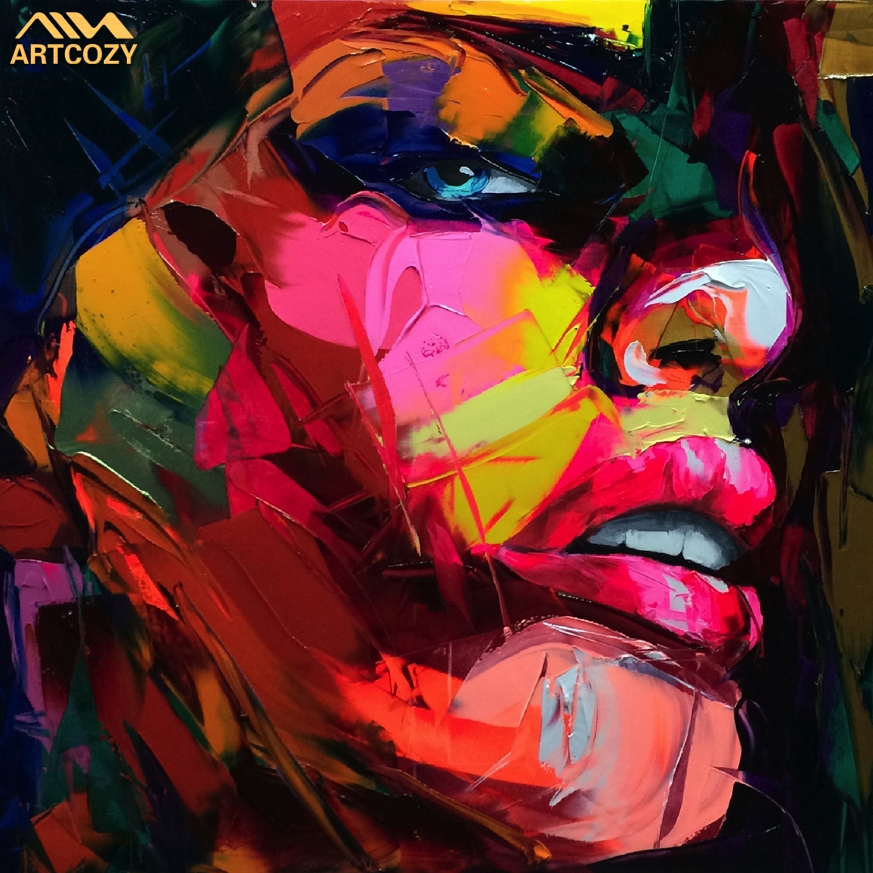Artcozy Francoise Nielly Knife Spray Canvas Painting Abstract Portrait Face Oil Paint Figure Wall Art Pictures Home Decoration