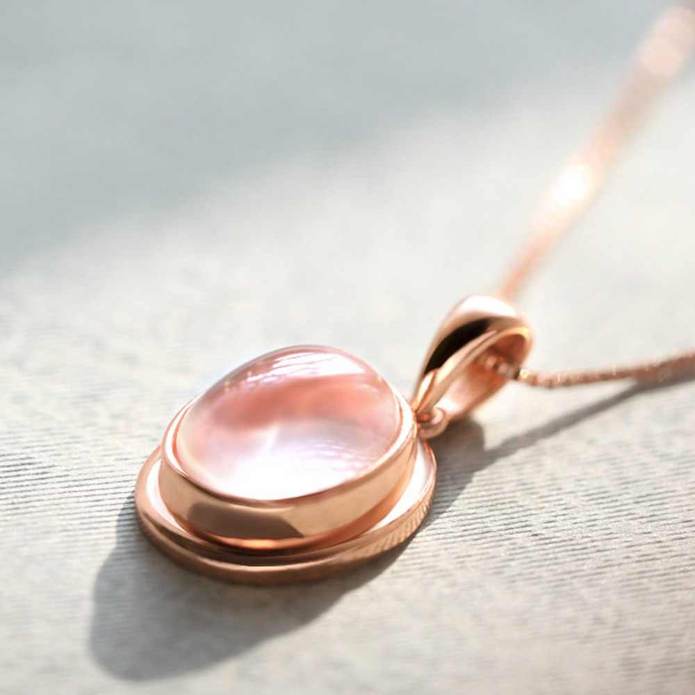 Without Chain High Quality Women Rose Gold oval opal Pink Crystal Natural Stone Charm Pendant Without Chain !!!