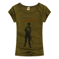 Military Uniforms Clothing Female Army Green Graphic Tees Tops Summer Short Sleeve Cotton T Shirt Women