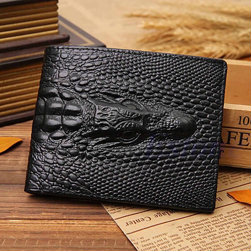 9171f81678b1 THINKTHENDO Поддельные Крокодил Gator для мужчин кожаный бумажник карманы  ID Кредитная карта клатч двойного сложения