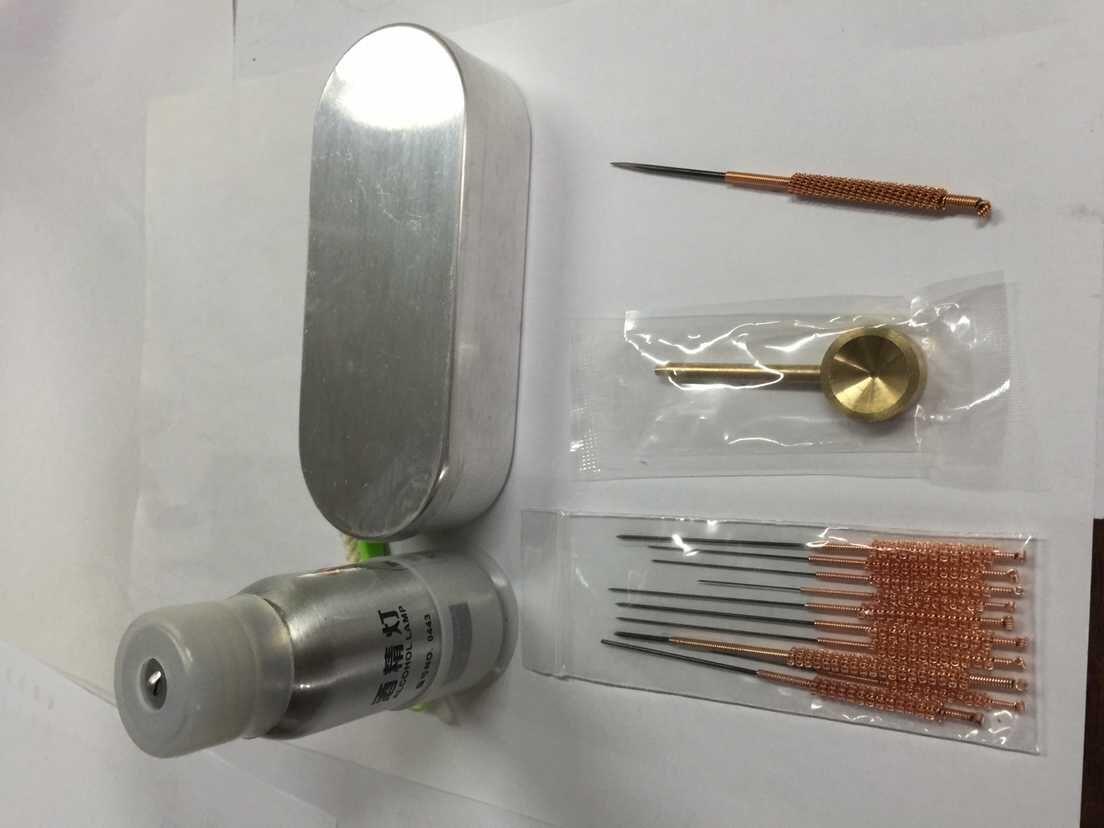full set of acupuncture massage needles fire needle box locator and alcohol burner