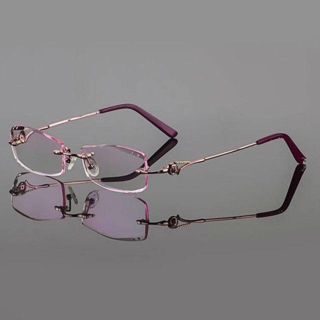 2015 Fantasma corte óculos de titânio do sexo feminino modelos de corte de diamante de cristal Rosa óculos sem aro óculos de prescrição terminou