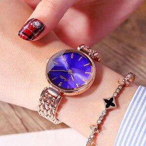 Image 2 - Super Lujo esfera de diamante mujeres relojes de señoras elegante reloj de cuarzo casual mujer Acero inoxidable relojes reloj mujeres regalos