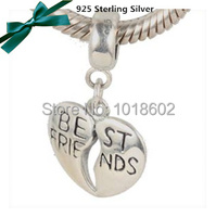 Free Shipping 100% 925 Sterling Silver Heart With Best Friends Charms beads Fits for European Pandora Bracelet Necklace VK2223