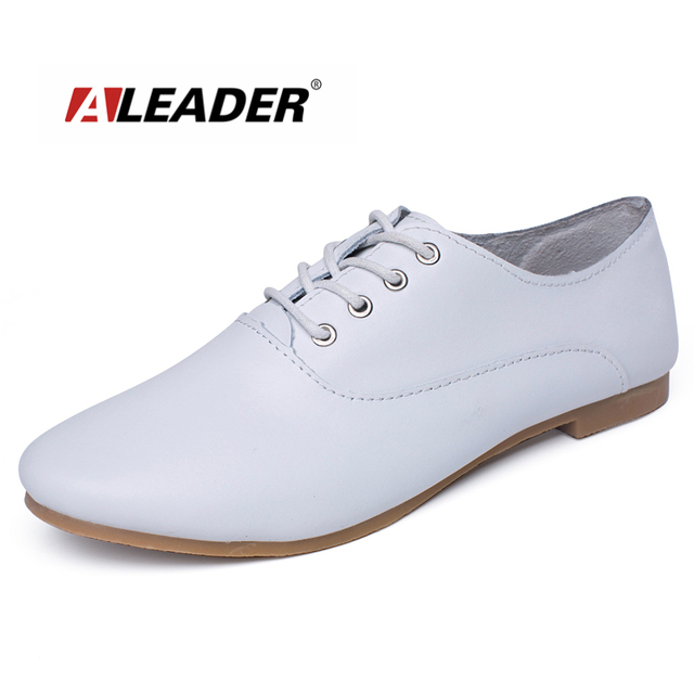 84d963838cfd Aleader Women Casual Shoes Comfortable Fashion Lace-up Walking Shoes New  2016 Summer Ladies Genuine Leather Loafers zapatillas