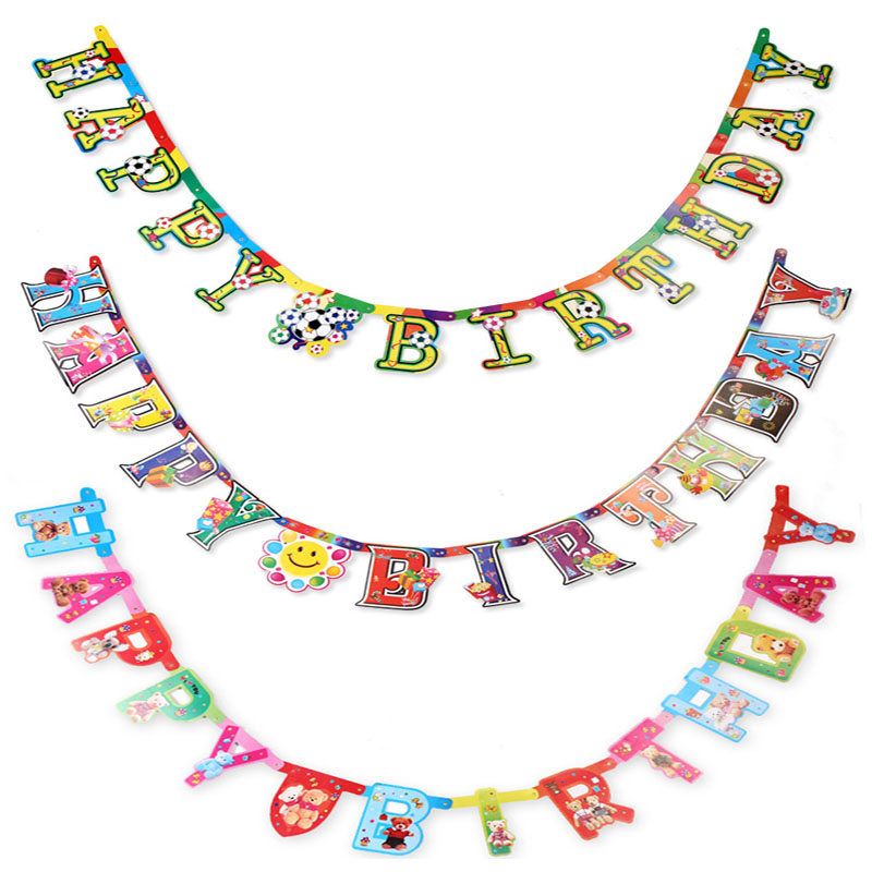 Magic Cartoon Flags Hang Childrens Birthday Party Decor Items Festival Decoration Event Supplies Banderas JJ110 In Banners