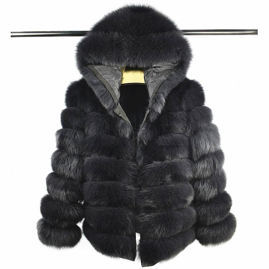 2018Women's Naturale Pelliccia di Volpe con Cappello Breve Manica Staccabile Quattro-in-one Reale della Pelliccia di Fox Cappotto Stand Europeo inverno Caldo di Modo di C