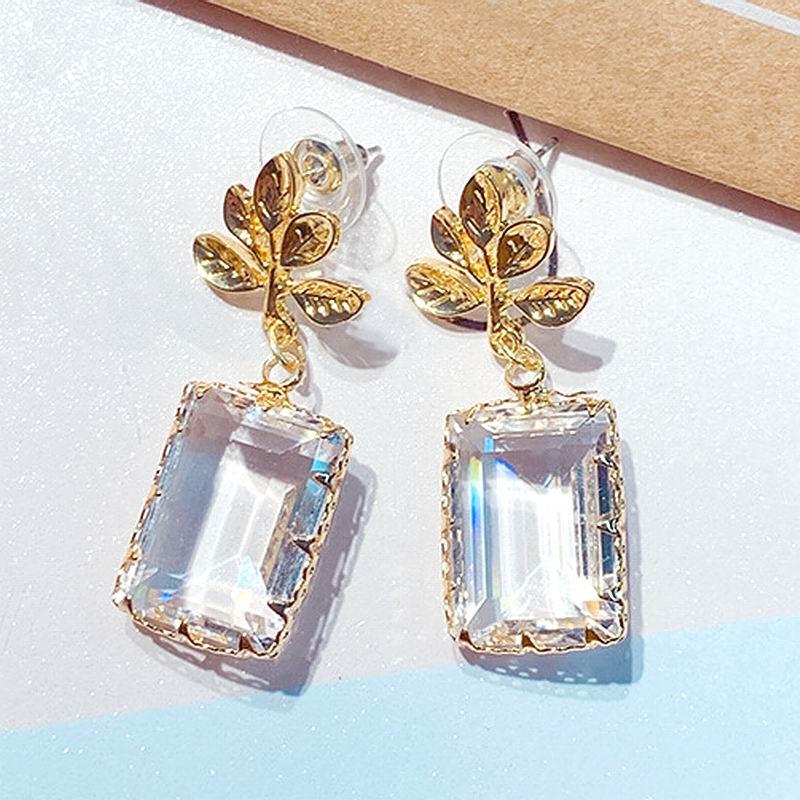 Korean Leaf Transparent Square Drop Earrings Women 2019 New Temperament Simple pendientes Statement Hanging Jewelry