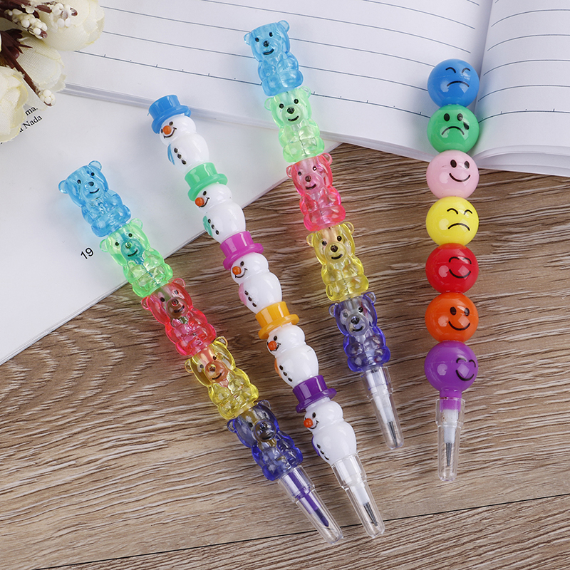 NEW Details About New 5/7 Colors Cute Stacker Swap Smile Face Crayons Children Drawing Gift