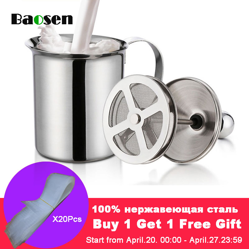 Baosen 800ml Double Mesh Milk Creamer Stainless Steel Milk Frother for Cappuccino Milk Jugs Egg Beater