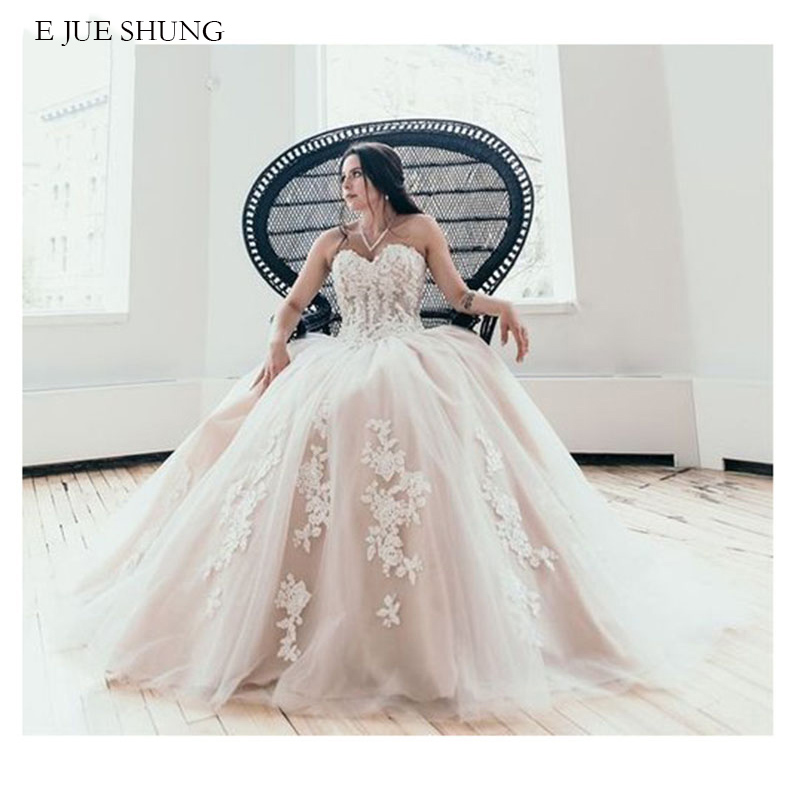 E JUE SHUNG Vintage Lace Appliques Ball Gown Wedding Dresses Sweetheart Lace Up Back Wedding Gowns Bride Dress Robe De Mariee