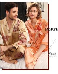 Роскошные и благородные тяжелые 100% пижамы из чистого шелка для мужчин и женщин, пара влюбленных, пижамный комплект, свадебная домашняя