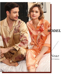 100%Pure-Silk Pajamas Sleepwear Couple Home And No for Men Women Married Lovers Wedding
