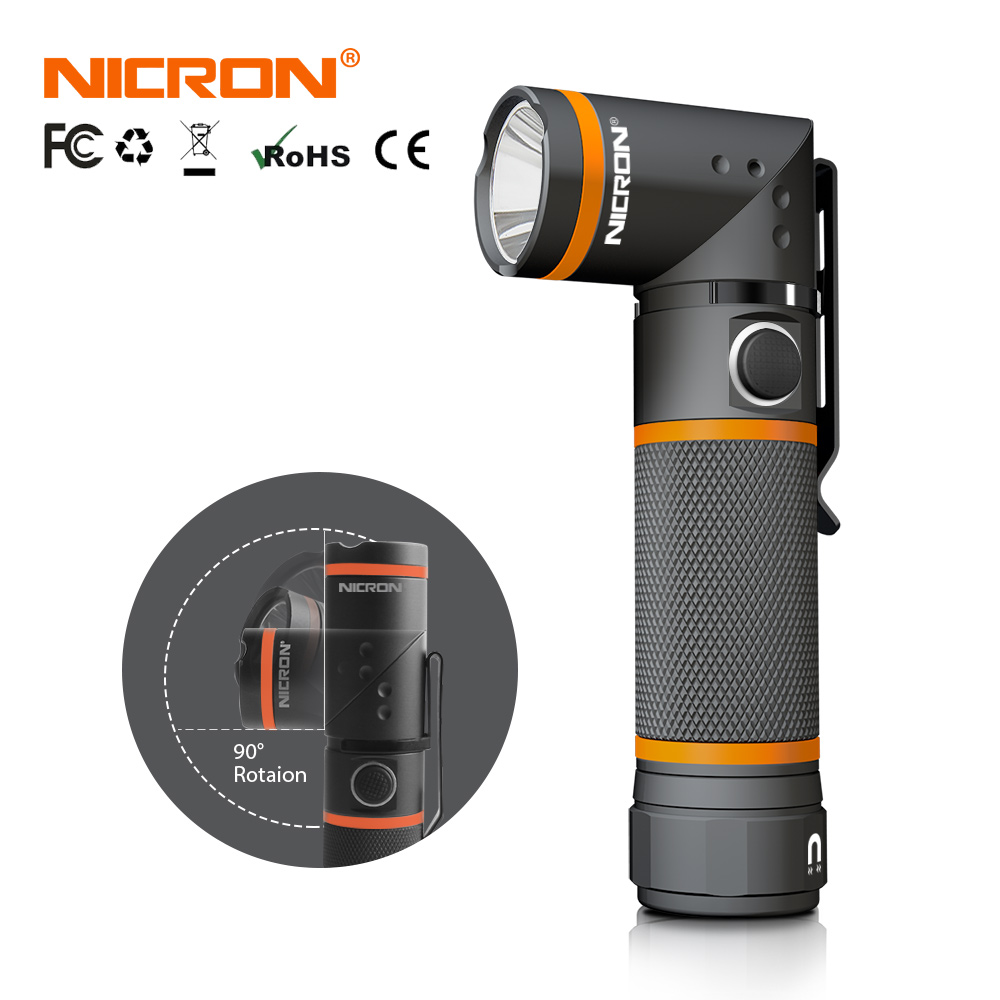 NICRON LED-lommelykt Ultra Bright High Brightness Vanntett 3 Modus 300LM CREE LED Håndfri Torch Magnet 90 Degrees Light N72
