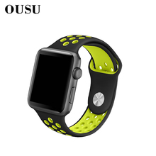 OUSU Silicone Band Smart Watch Strap For apple 4 3 2 1 44mm 42mm 40mm 38mm Sports Watchband iwatch