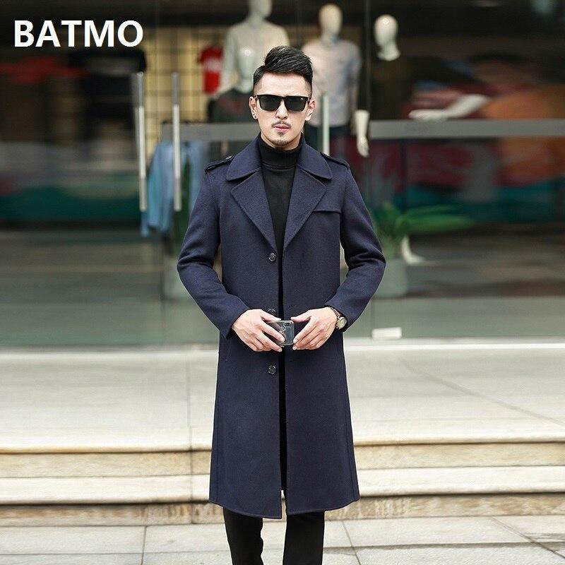 Plus-größe 8911 Batmo 2018 Neue Ankunft Hohe Qualität Doppel Seite Wolle X-lange Graben Mantel Männer Männer Der Winter Navy Blau Lange Mantel