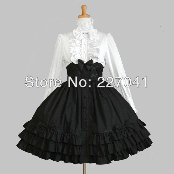 Japanese Girl Lolita anime Halloween white and black cosplay costume dress Free Shipping A0144