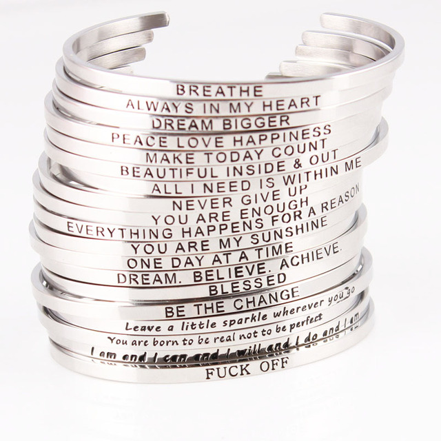 New Silver Stainless Steel Bangle Engraved Positive Inspirational Quote Handmade Cuff Mantra Bracelets For Women Best