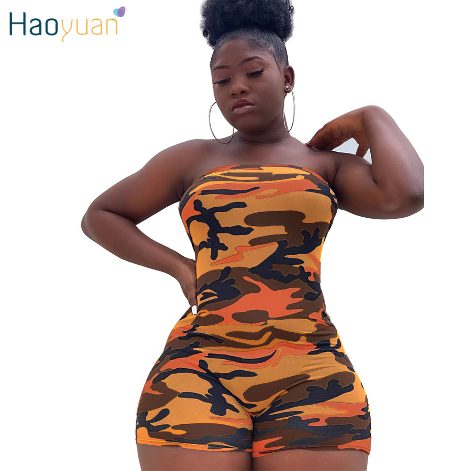 HAOYUAN Camouflage Sexy Bodycon Playsuit Summer Overalls Streetwear Off Shoulder Body One Piece Rompers Womens   Jumpsuit   Shorts