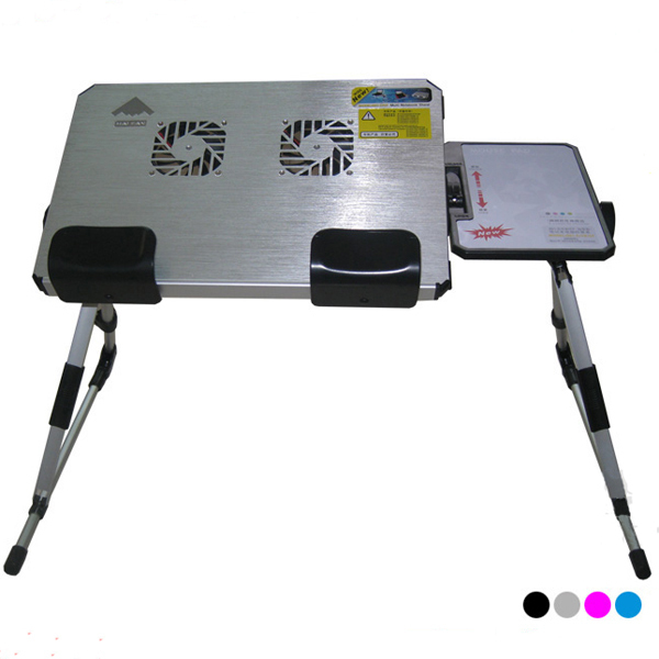 Free shipping portable folding & adjustable height aluminum alloy laptop desk with fans, retail with four colors