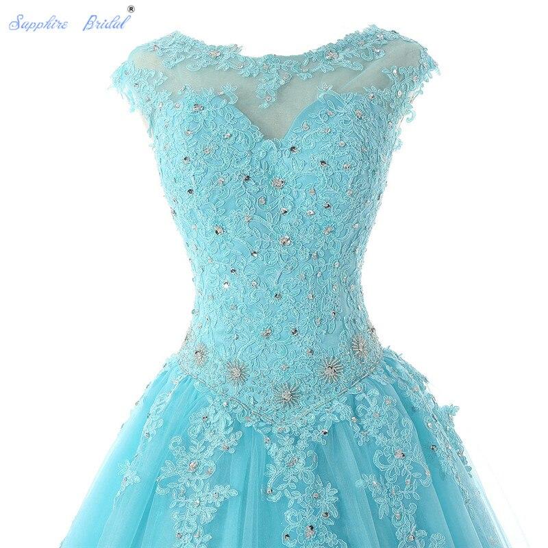 Saphir mariée longues robes De soirée Vestido De 15 Anos De Cap manches dentelle dos ouvert lilas menthe bleu perles Quinceanera robe - 3