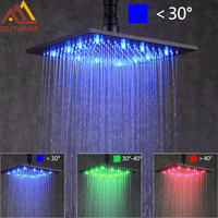 LED Changing 5 Sizes Options Square Rainfall Black ORB Shower Head Faucet Bathroom Accessory Top Over