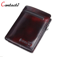 CONTACT S Genuine Leather Men Wallet Designer Famous Brand Coin Wallets Card Holder High Quality Short
