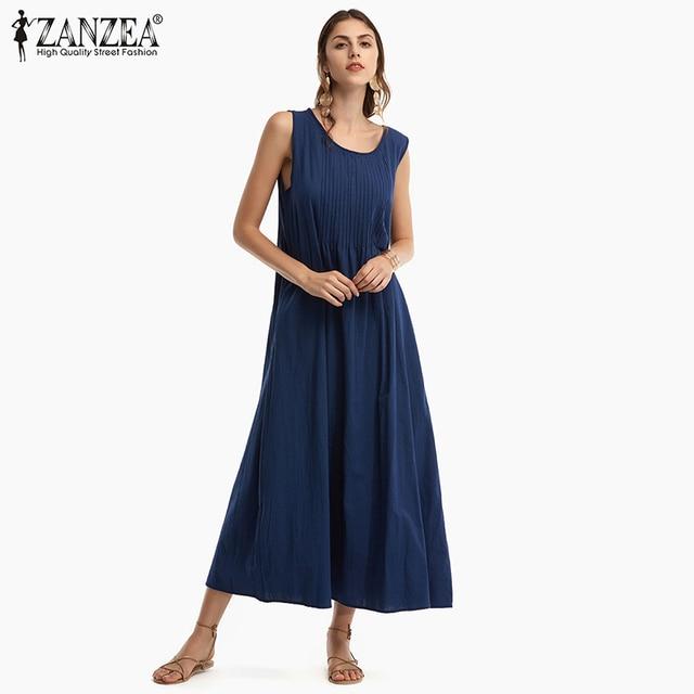 30ed02955539 ZANZEA 2018 Summer New Arrival Women Retro Pleated Cotton Linen Dress  Casual O Neck Sleeveless Solid Loose Long Dress Plus Size