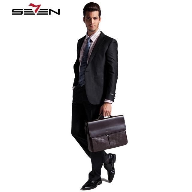 Seven7 Marca Vestido de Los Hombres Trajes De Lana-Como Trajes de Boda Delgado 1 Botón Frontal Negro Trajes De Moda Conjuntos (chaqueta y Pantalón) 701C1207