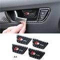 Для Audi A5 A4 B8 Углеродного волокна Интерьер Дверные Ручки чаша Наклейка Обложка Отделка 4 шт. Дверная Ручка Чаша Пропуск Отделки Автомобиля укладки