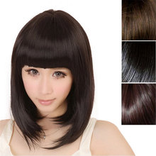Hot Fashion New Ladies Short Straight Full Bangs Hair Women Cosplay Popular Charming Party Elegant Brown Sexy Beautiful 7.31