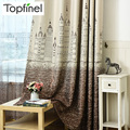 2016 Top Finel Cartoon Castle Window Curtains for Kids Room Girls Boys Baby Bedroom Gradient Design Blackout Curtains Drapes