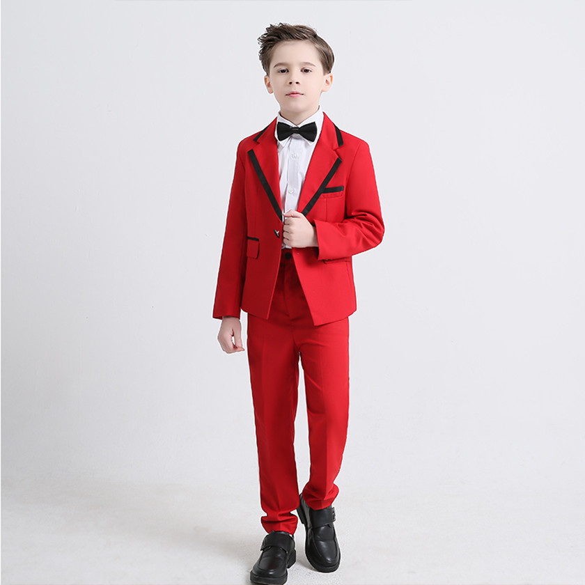6PCS Formal Suits with Bow Kids Boys Blazer Wedding Suits Boys Party Tuxedos Suits Top+Vest+Shirt+Bow+Bottom+Corsage Hot S84020A