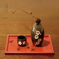 Japanese style plum blossom hand painted sake wine set gift box wine pot cup fruit wine dispenser liquor winebowl 5pcs/set