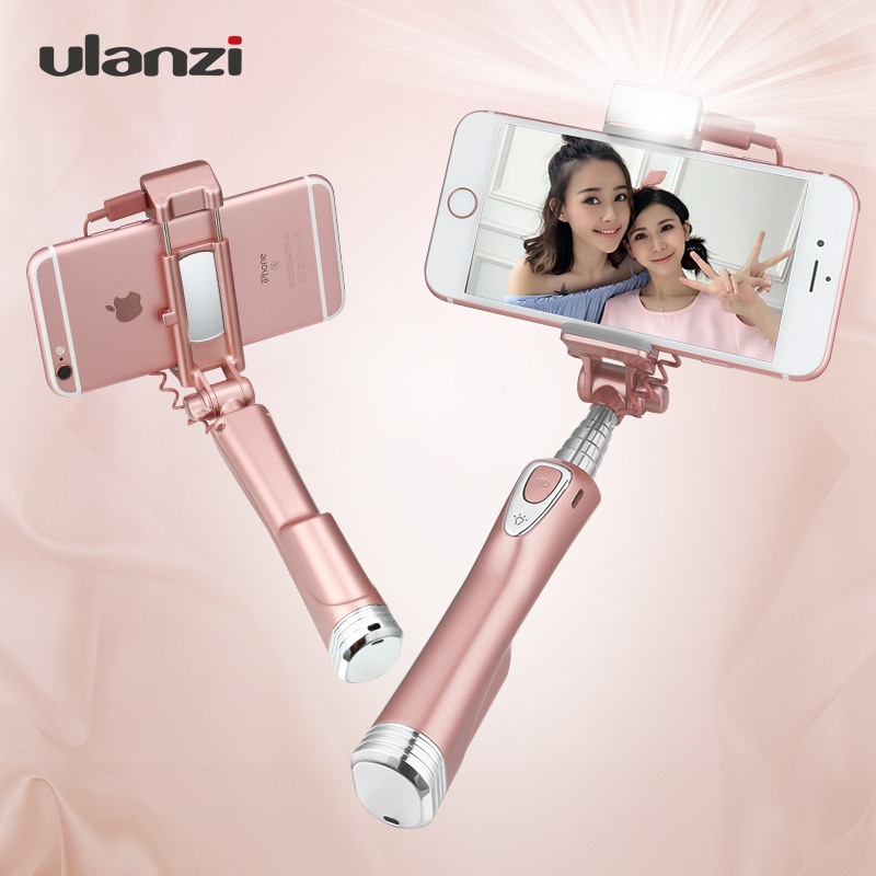 Ulanzi Selfie Stick With Rear Mirror,Light And Bluetooth Remote Shutte