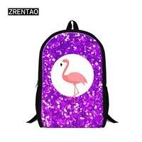 ZRENTAO flamingo&Unicorn students school bags polyester teenager double zipper mochilas animal bookbag travel rucksack