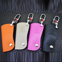 2016 First Layer Of Genuine Leather Car Red Button Key Cases Key Cover Key Holder Wallet